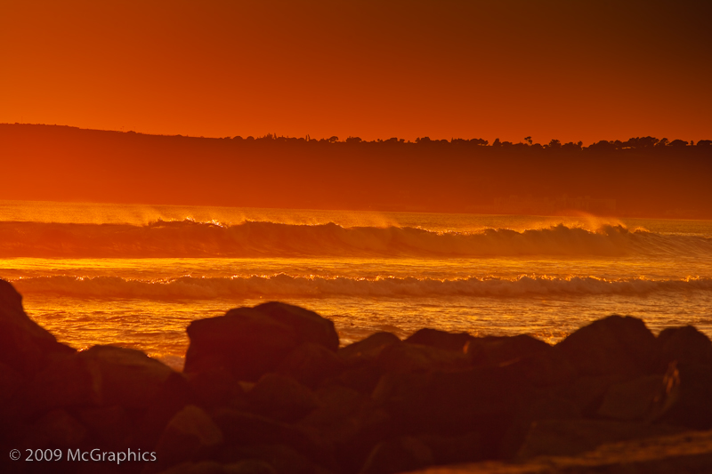 The Pacific Ocean at beach at Sunset