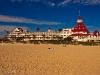 Full view of the Hotel del Coronado from the beach